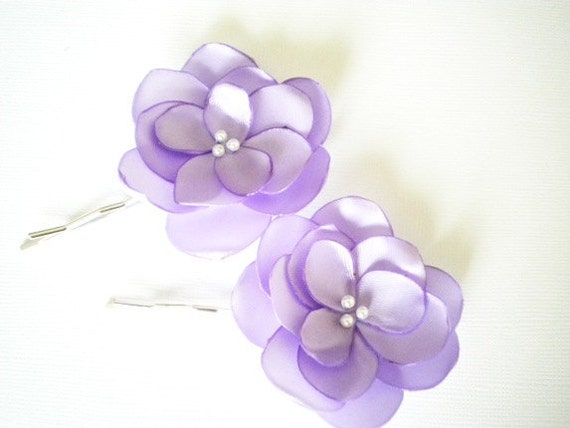 STORE CLOSING 2 Lilac Satin Flower Pins Clips Handmade -  Ready to ship