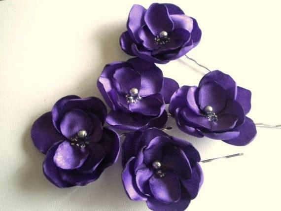RESERVED Deep Purple Satin Flower Pins Handmade Wedding Prom Party