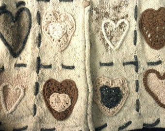 Vintage Wool and Angora Sweater with Hearts-handknitted