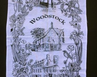 Vintage Cotton Woodstock DISH TOWEL- Made in UK-Handprinted
