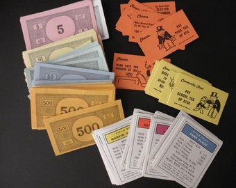 Vintage Monopoly Game -money-cards-1970s