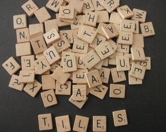 1950s 1960s vintage scrabble tiles  - game- wood-letters- 98 tiles-alphabet-words-assemblage-anagram
