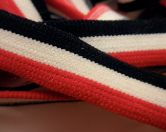 5 yards of vintage elastic trim-usa-flags-red, white and blue