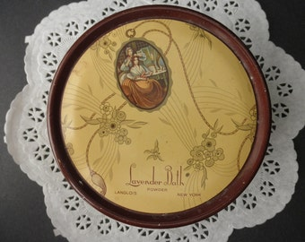 30s 40s Lavender Bath-round vintage powder DECORATIVE TIN with lid-Made in USA