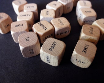vintage Scrabble dice - 21 pieces - game-letters-alphabet-words-assemblage-anagram-1970s