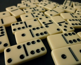 small ivory colored plastic dominoes - 28 pieces, game pieces, tiles, tiny