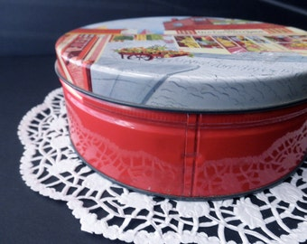 Vintage DECORATIVE TIN with city scene-Fruit Cake Bakers of America