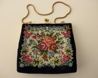 antique Margrit Raebsamen NEEDLEPOINT purse - roses, flowers, petit point