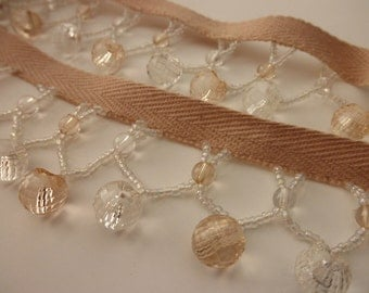 champagne crystal bead trim by the yard - BTY, DIY, glittery