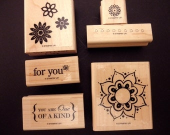 RUBBER STAMPS Used Stampin' Up 6 stamps- You Are One of a Kind, flowers