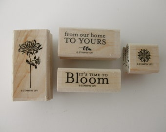 RUBBER STAMPS Stampin' Up 4 stamps - Bella's Bloom - sayings, friendship, home, flowers