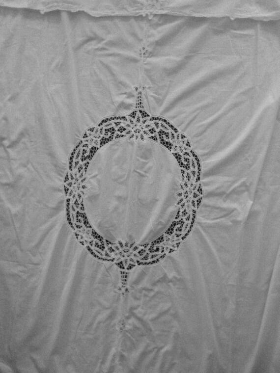 vintage battenburg lace shower curtain white by junquedujour. Black Bedroom Furniture Sets. Home Design Ideas