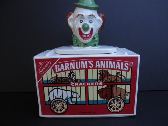 Vintage McCoy NABISCO Barnum's Animal Crackers Clown Collector Cookie Jar 1972