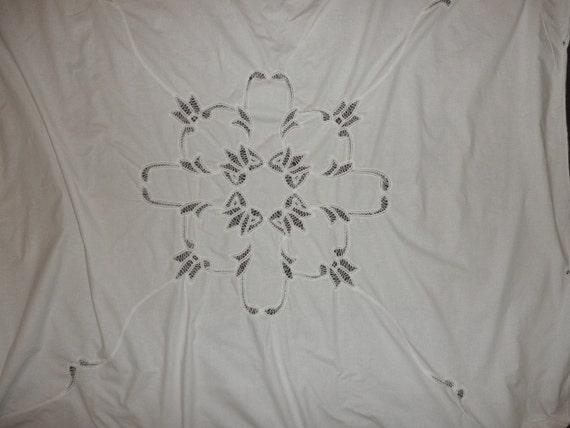 Vintage Battenburg Lace Shower Curtain White Cotton