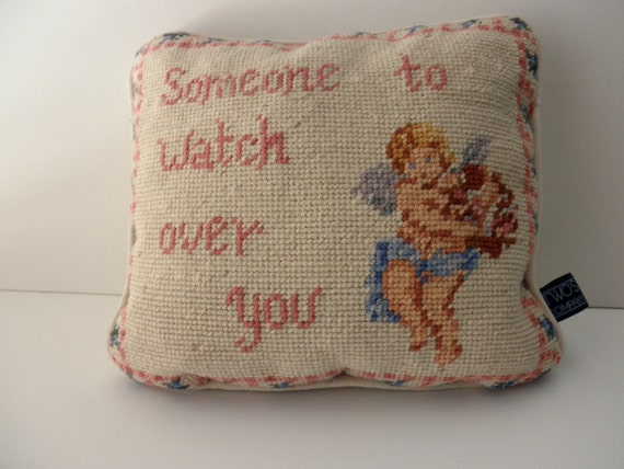 Small Shabby Chic Pillows : Shabby Chic-Small Needlepoint PILLOW Angel