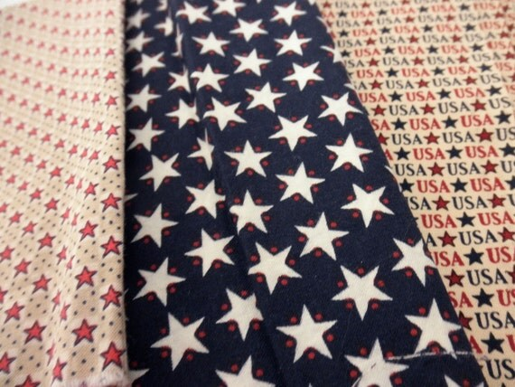 3 pieces of scrap cotton fabric-USA-flag-July 4th-red, white and blue