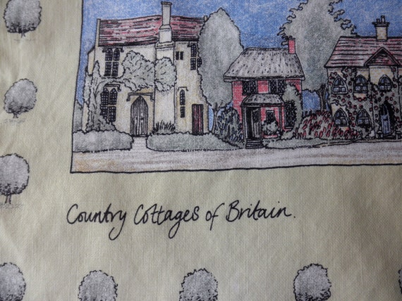 Vintage Linen Cotton DISH TOWEL with Country Cottages of Britain