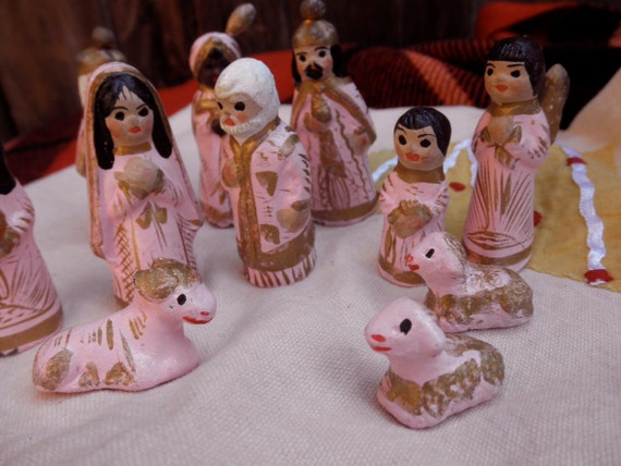 vintage handmade clay CRECHE FIGURINES -Christmas, manger, made in Mexico, pink