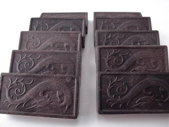 vintage dragon dominoes - 10 pieces, game pieces, tiles