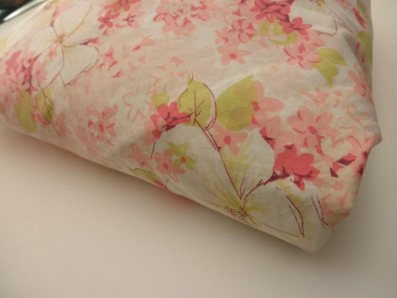 vintage double fitted sheet - flowers, pink, mod