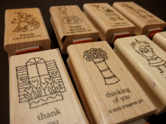 RUBBER STAMPS Used Stampin' Up 16 stamps- Greetings Galore