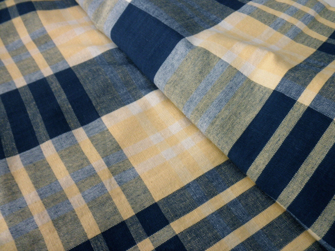 cottage shower curtain plaid cotton navy yellow by junquedujour