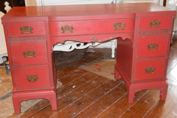 Vintage Hand Painted Red Desk Distressed reserved Kim 10/5
