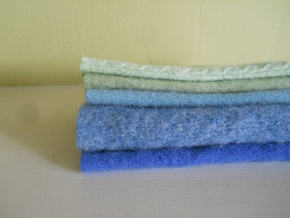Recycled Repurposed Wool Cashmere Merino Fabric Remnants Felted lot of 5