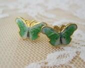 Green Butterfly Stud Earrings