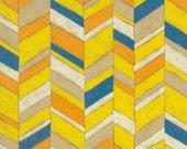 Blue Orange Chevron 10x10 Print Mounted on Canvas