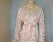 Vintage LACE Drawstring Caftan Dress Angel Sleeves V Neck ooak s-m