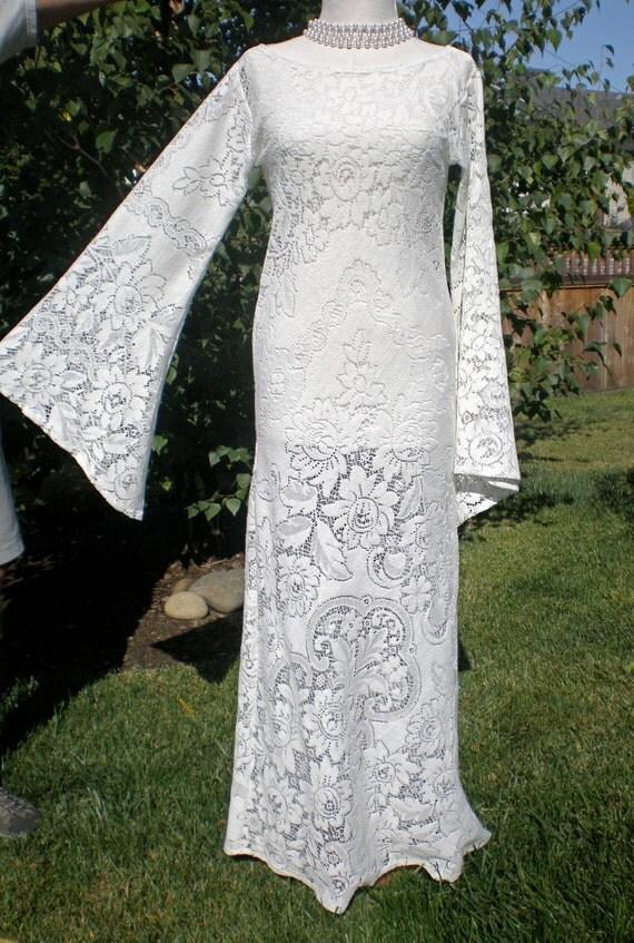 Sheer Vintage LACE Maxi DrEsS Large ANGEL Sleeves HiPpiE Festival CUSTOM Made ooak