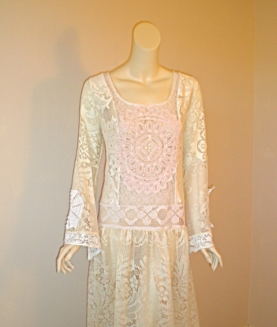 RESERVED Nirall SALE Vintage LACE Sheer Maxi Dress Drop Waist ooak m-l