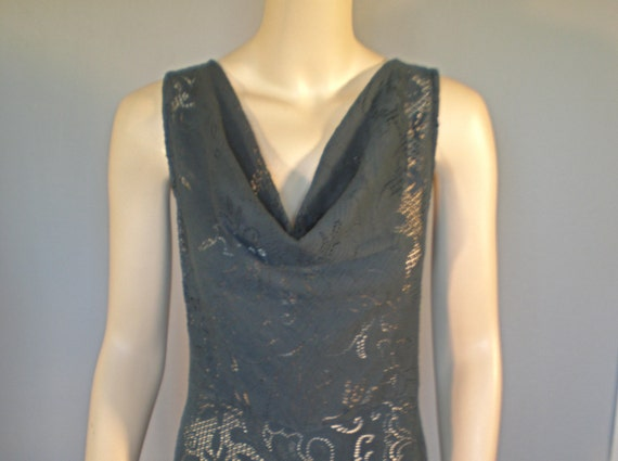 SALE Black Vintage LACE Draped PLUNGING Neck Dress fit & flare ooak m