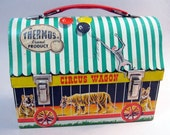antique CIRCUS lunchbox - Thermos brand - 1938 - Circus Wagon - lunch box, 1958