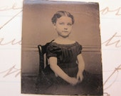 ReSERVED for lynnhughey - GEMTYPE photo - little GIRL in chair, living doll - civil war era, late 1800s, antique photo - GT645