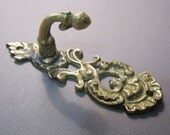 vintage brass hook - cast, ornate, rococo, victorian, wall hook
