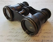 RESERVED for Louise - antique Chevalier Opticien Paris OPERA glasses - leather covered barrels - steam punk