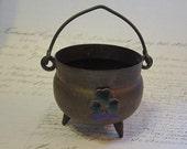 vintage IRELAND souvenir - small cauldron with enameled shamrock