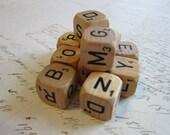 14 vintage ALPHA dice - natural with black letters - wood alpha dice