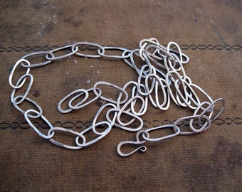 hand forged LARGE LINK sterling silver chain - 18 inches
