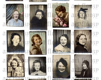 DIGITAL collage sheet - 20 PHOTOBOOTH photos of WOMEN- jpeg format - high resolution