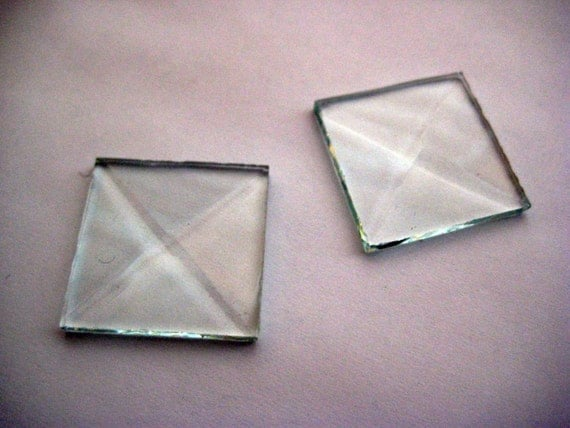 SALE - 20 beveled glass squares for soldered charms - square - collage - art - stained glass - jewelry design - charm