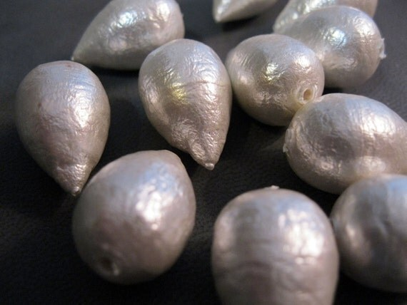 vintage cotton pearls - 2 pieces - large 14mm x 22mm size - beautiful, teardrop, lightweight, wedding