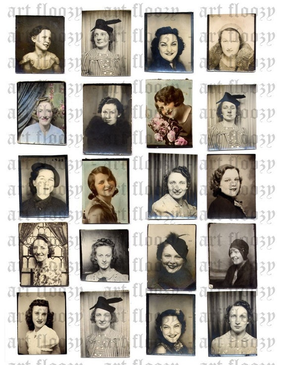 DIGITAL collage sheet - 20 PHOTOBOOTH photos of WOMEN- jpeg format - high resolution