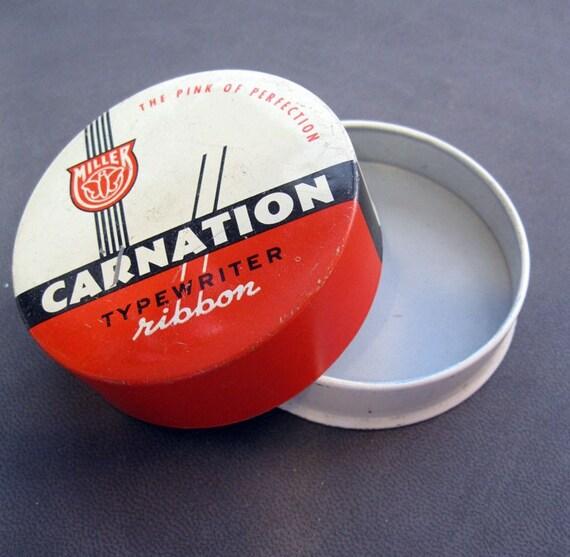 vintage typewriter tin - Carnation Typewriter Ribbon - the Pink of Perfection - Smith Corona - Illinois