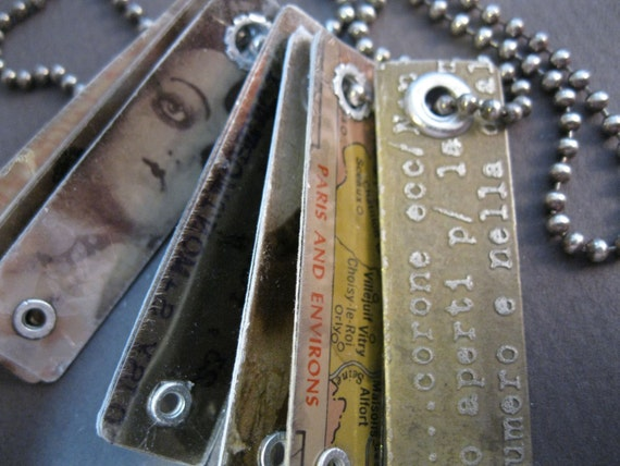 RESERVED for linda - handmade dogtag necklace - vintage PARIS theme - etched metal, collage, mica, sterling silver - send in the CLOWNs