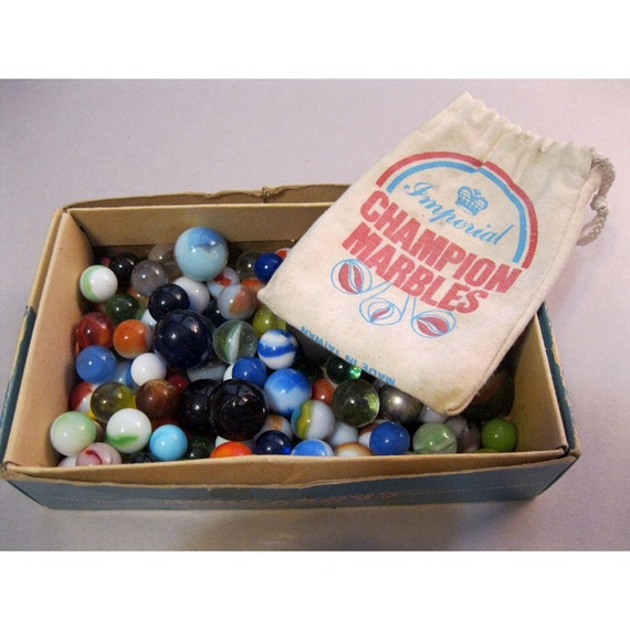 SALE - 122 vintage glass marbles with cloth MARBLE bag - catseye, steelie, assorted sizes and colors