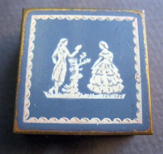 SALE - antique VOLUPTE brass box - 1950s tiny box, pill box, Wedgewood inspired, hinged lid