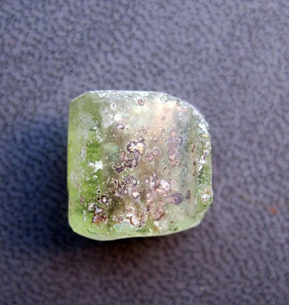 ancient glass fragment bead - 1000 to 2000 years old - natural patina, focal, light GREEN, drilled, bead 218